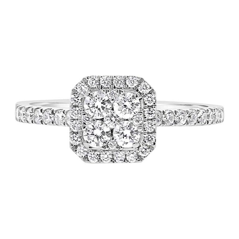 0.74 Carat Round Diamond Cushion Ring 18K White Gold FashionRing Engagement Ring