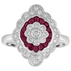 0.74 Carat Ruby Diamond Gold Ring
