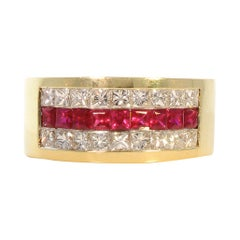 0.74 Carat Total Princess Cut Ruby Ans Diamond Cocktail Ring in 18 Karat Gold
