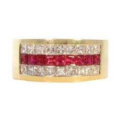 0.74 Carat Total Princess Cut Ruby Ans Diamond Cocktail Ring in 18 Karat Gold