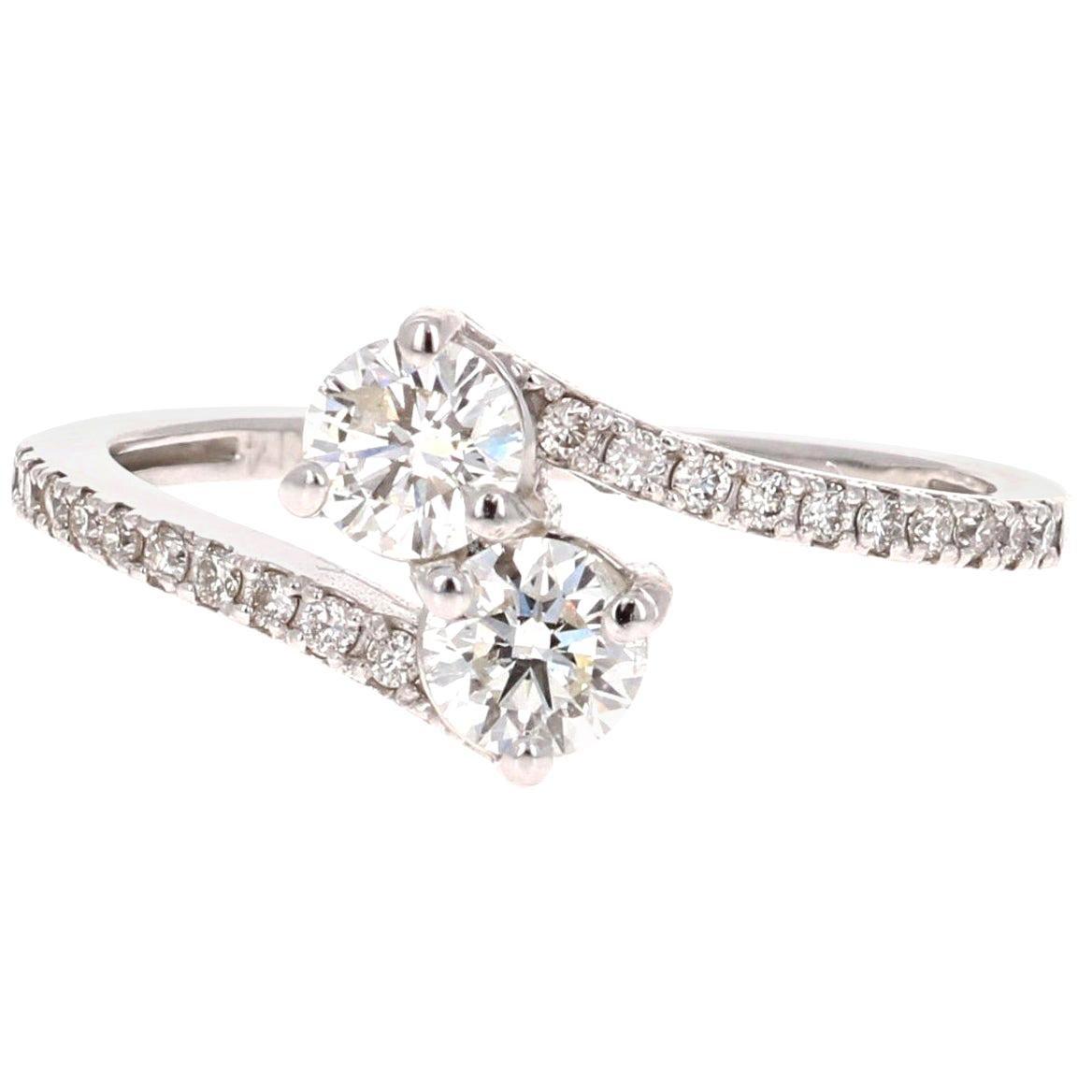 0.74 Carat Two-Stone Diamond 14 Karat White Gold Bridal Ring