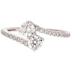 0.74 Carat Two-Stone Diamond 14 Karat Yellow Gold Bridal Ring