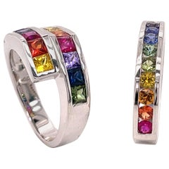 0.74 Carat Multi-Color Sapphire Ring in 18 Karat Gold