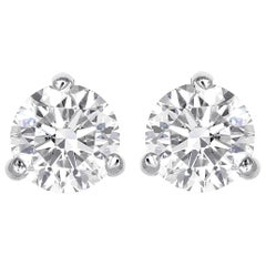 0.74 Total Carat Weight Round Brilliant Cut Diamond Stud Earrings
