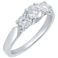 0.75 Carat 3-Stone Certified Diamond Ring 18 Karat White Gold