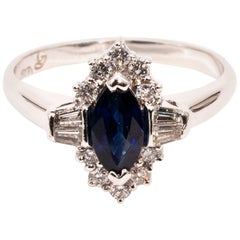 0.75 Carat Blue Marquise Sapphire and Diamond 18 Carat White Gold Ring