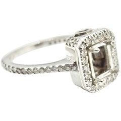 0.75 Carat Diamond 14 Karat White Gold Semi-Mount Engagement Ring