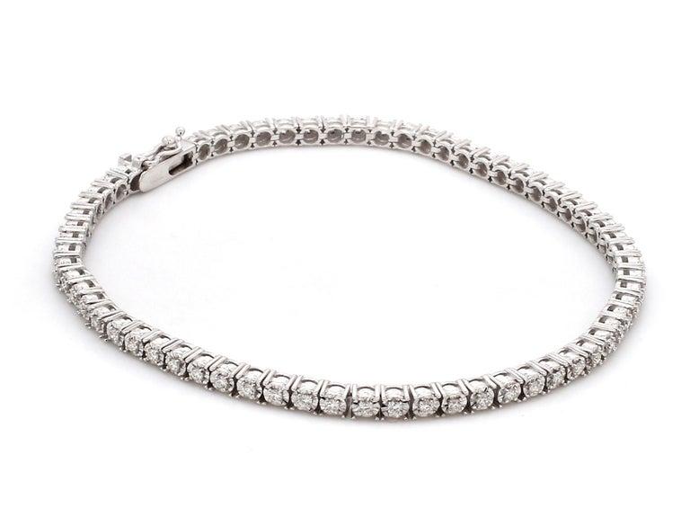 Contemporary 0.75 Carat Diamond 18 Karat White Gold Tennis Bracelet