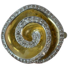 0.75 Carat Diamond 9 Carat Gold Flower Swirl Head Cluster Ring