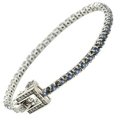 0.75 Carat Diamond and Sapphire Bracelet 14 Karat White Gold