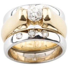 0.75 Carat Diamond Engagement Ring with Enhancer in Multi-Color Gold