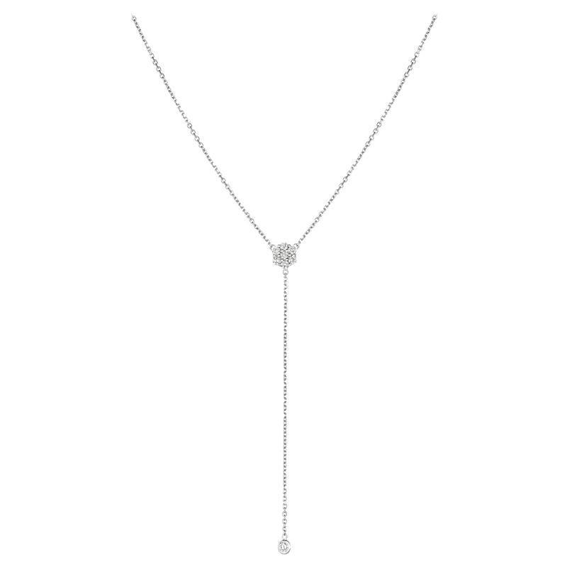 0.75 Carat Diamond Flower Bezel Drop Necklace 14 Karat White Gold