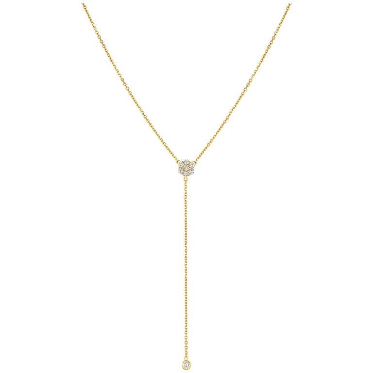 0.75 Carat Diamond Flower Bezel Drop Necklace 14 Karat Yellow Gold For Sale