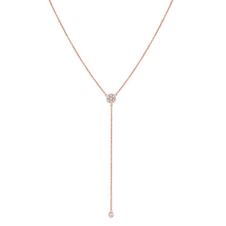 Contemporary 0.75 Carat Diamond Flower Bezel Drop Necklace 14 Karat Yellow Gold For Sale