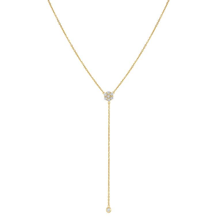 Round Cut 0.75 Carat Diamond Flower Bezel Drop Necklace 14 Karat Yellow Gold For Sale