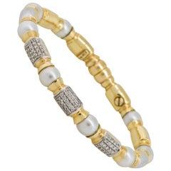 0.75 Carat Diamond Pearl Open Cuff Bangle Bracelet 18 Karat in Stock