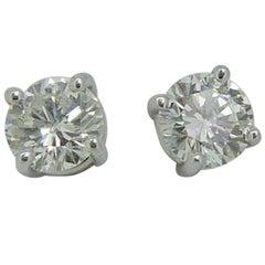 0.75 Carat Diamond Stud Earrings, Hallmarked 18 Carat Gold, London, 2003