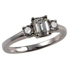 0.75 Carat Emerald and Round Cut Diamond Ring 18 Karat White Gold UK Hallmarked