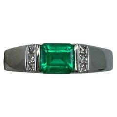 0.75 Carat Fine Vivid Green Colombian Emerald & Diamond Platinum Band Ring