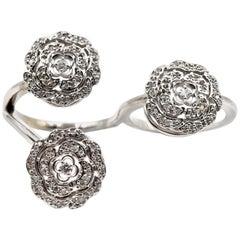0.75 Carat Floral Diamond 14 Karat White Gold Two-Finger Ring