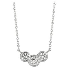 0.75 Carat Natural 3-Stone Diamond Bezel Necklace 14 Karat White Gold G SI