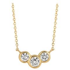 0.75 Carat Natural 3-Stone Diamond Bezel Necklace 14 Karat Yellow Gold G SI