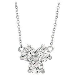 0.75 Carat Natural 3-Stone Diamond Necklace 14 Karat White Gold G SI Chain