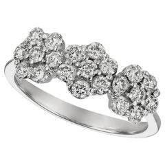 0.75 Carat Natural Diamond 3 Flowers Ring G SI 14 Karat White Gold