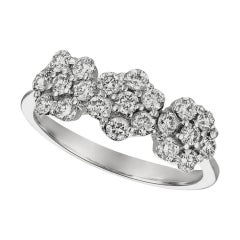 0.75 Carat Natural Diamond 3 Flowers Ring G SI 14 Karat White Gold
