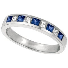 0.75 Carat Natural Diamond and Sapphire Ring Band 14 Karat White Gold
