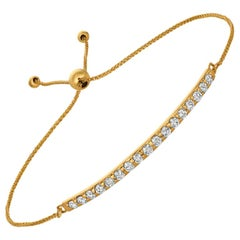 0.75 Carat Natural Diamond Bolo Bar Bracelet G SI 14K Yellow Gold Adjustable