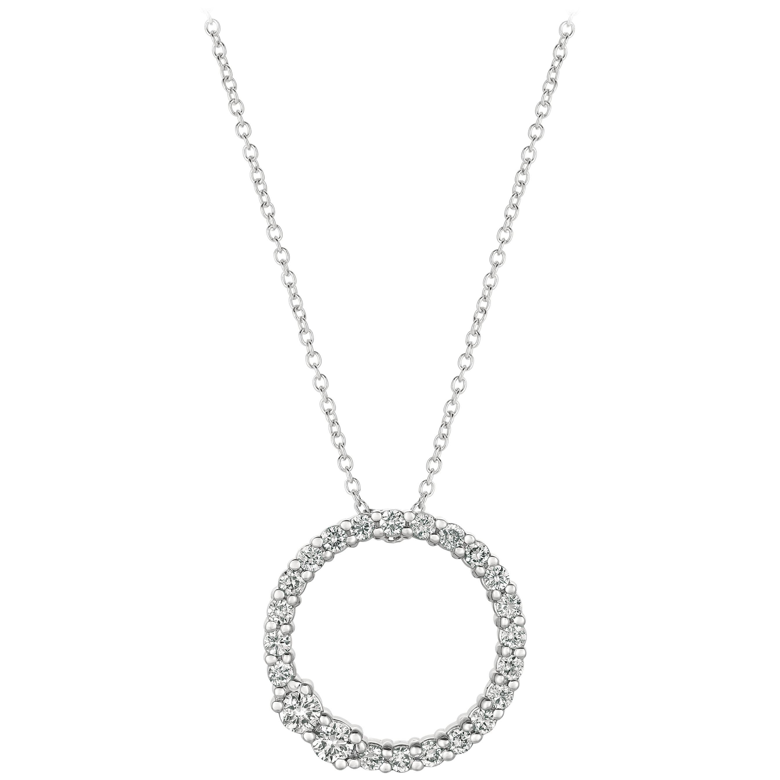 0.75 Carat Natural Diamond Circle Necklace 14 Karat White Gold G-H SI Chain