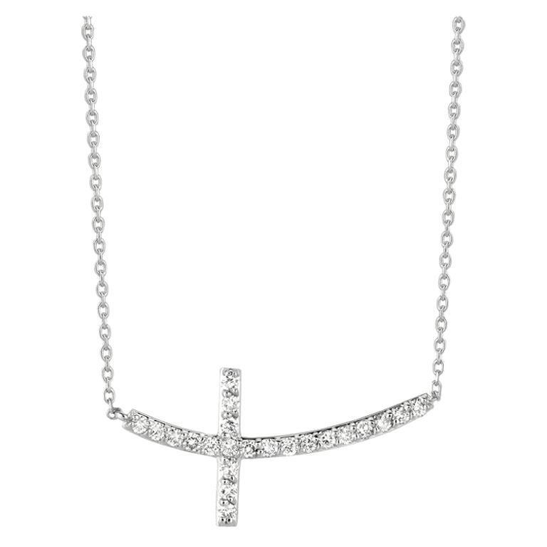 0.75 Carat Natural Diamond Cross Pendant Necklace 14 Karat White Gold G SI Chain For Sale