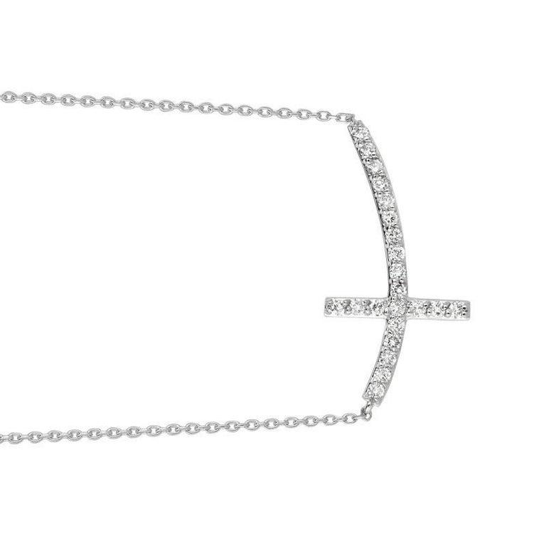 Round Cut 0.75 Carat Natural Diamond Cross Pendant Necklace 14 Karat White Gold G SI Chain For Sale