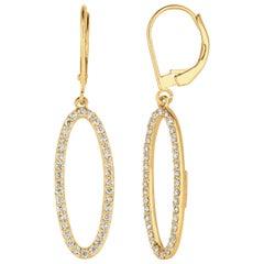 0.75 Carat Natural Diamond Earrings G SI 14 Karat Yellow Gold