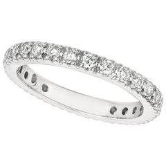 0.75 Carat Natural Diamond Eternity Ring Band G SI 14 Karat White Gold