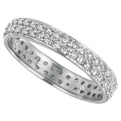 0.75 Carat Natural Diamond Eternity Ring Band G SI Set in 14 Karat White Gold