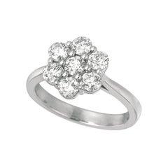 0.75 Carat Natural Diamond Flower Ring G SI 14k White Gold 11 Points Each