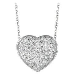 0.75 Carat Natural Diamond Heart Necklace Pendant 14 Karat White Gold G SI