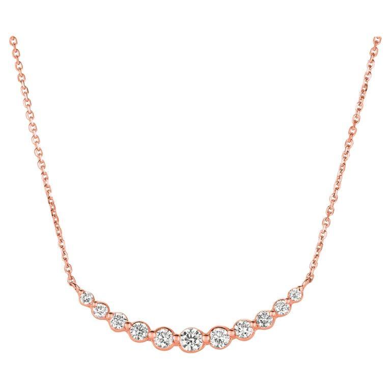 0.75 Carat Natural Diamond Necklace 14 Karat Rose Gold G SI Chain