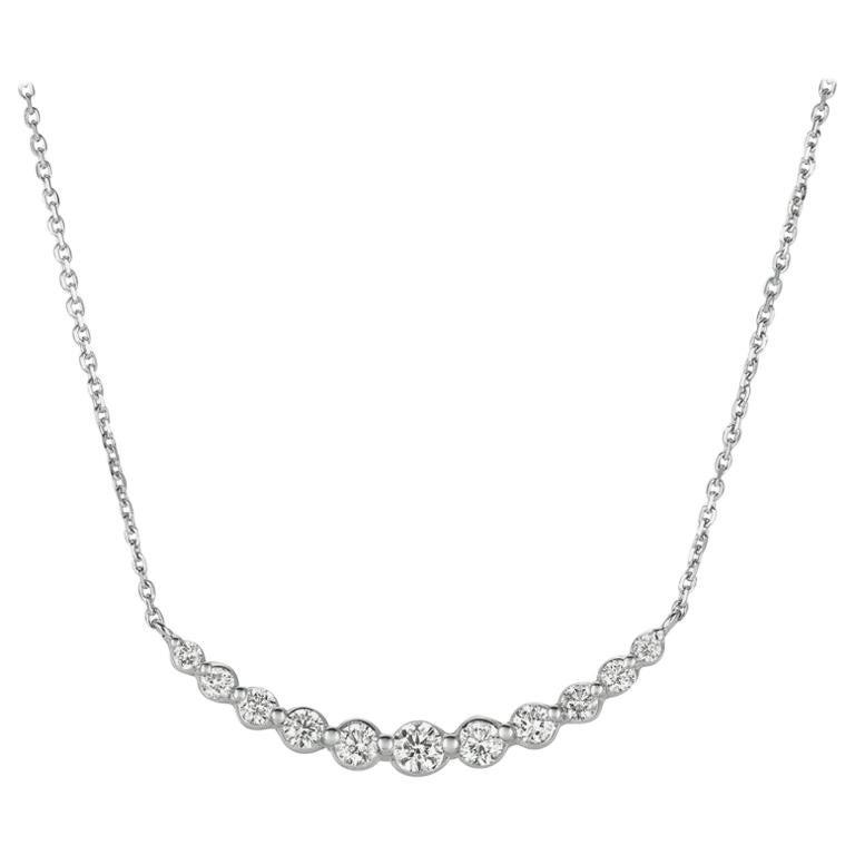 0.75 Carat Natural Diamond Necklace 14 Karat White Gold G SI Chain For Sale