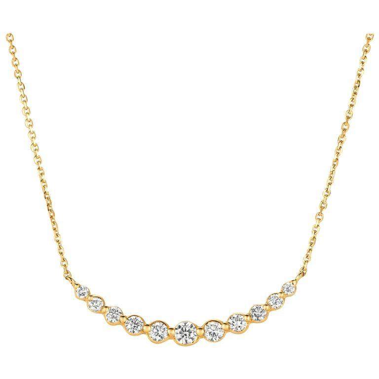 0.75 Carat Natural Diamond Necklace 14 Karat Yellow Gold G SI Chain