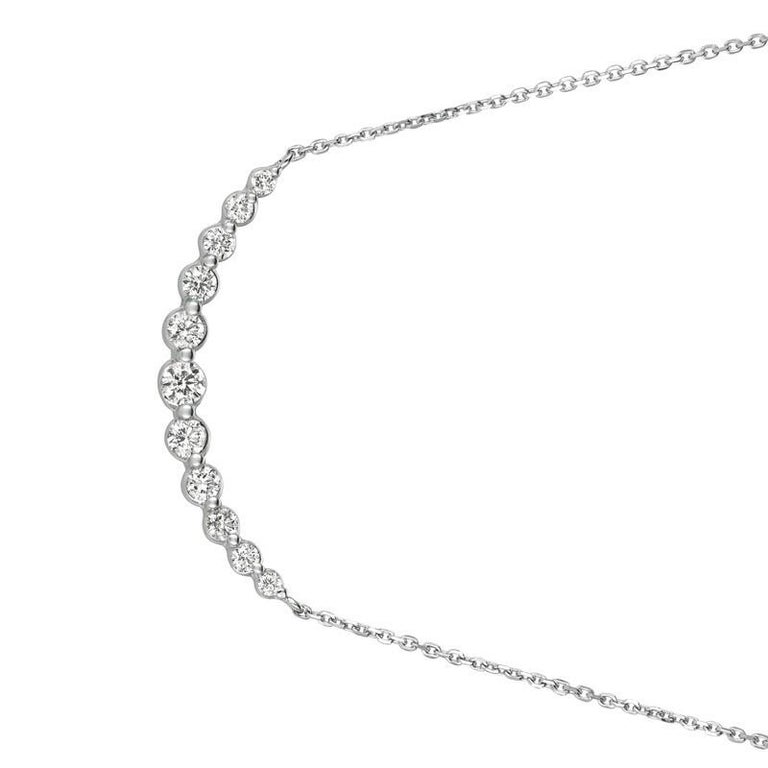 0.75 Carat Natural Diamond Necklace 14K White Gold G SI 18 inches chain        100% Natural Diamonds, Not Enhanced in any way Round Cut Diamond Necklace       0.75CT     G-H      SI       14K White Gold    Prong style  2.8 gram     1/2 inches in