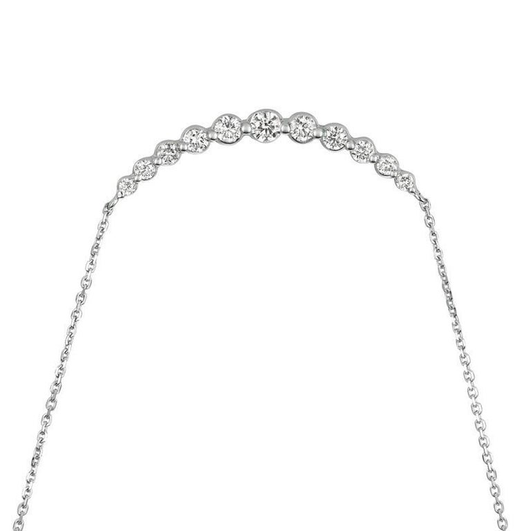 Contemporary 0.75 Carat Natural Diamond Necklace 14 Karat White Gold G SI Chain For Sale