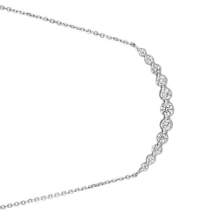 Round Cut 0.75 Carat Natural Diamond Necklace 14 Karat White Gold G SI Chain For Sale