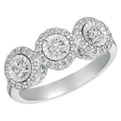 0.75 Carat Natural Diamond Ring G-H SI Set in 14 Karat White Gold