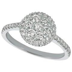 0.75 Carat Natural Diamond Ring G SI 14 Karat White Gold