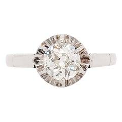0.75 Carat Old European Cut Diamond Solitaire Custom Engagement Ring White Gold