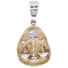 0.75 Carat Old Miner Diamond Two-Tone Libra Scale Zodiac Pendant 14 Karat Gold
