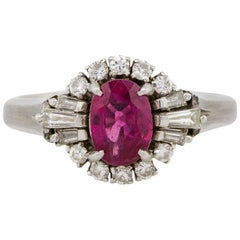 0.75 Carat Oval Cut Ruby Diamond Cocktail Ring Platinum in Stock